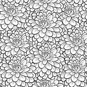Beautiful seamless background with monochrome black and white flowers.