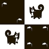 Black cat and white mouse 2x4