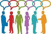 Social media business people talk speech bubble