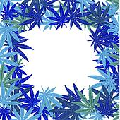Frame with blue marijuana leaves