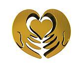 Hands with gold heart 3 D logo