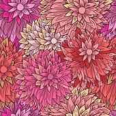 Vintage floral pattern in pink colors. Hand drawn chrysanthemums flowers
