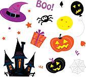 Halloween Icons Set on white