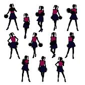 Cheerleader silhouettes on a white background