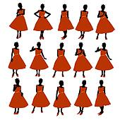 African American Prom Girl Illustration Silhouette