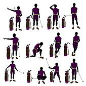 African American Male Golf Player Illustration Silhouette