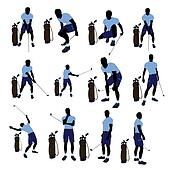 Male Golf Player Illustration Silhouette
