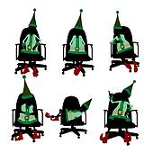 Christmas Elf Sitting In A Chair Silhouette Illustration