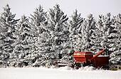 Old combine next to hoar frost covered trees in winter