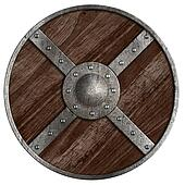 Medieval vikings round wooden shield isolated on white