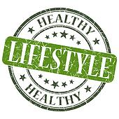Healthy lifestyle green grunge textured vintage isolated stamp