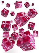 Valentine gift box falling concept