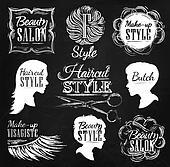 Set Beauty salon icons chalk.