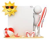 3D white people. Summer background with blank paper