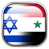 Israel and Syria Flag square glossy button
