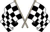 Crossed checkered flags waving in the wind