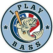Largemouth bass playing baseball