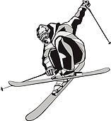 Mountain skier on skis