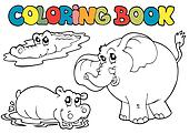 Coloring book with tropic animals 1