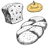 Bread. Vector hand drawn illustrations set