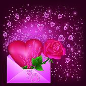 Greeting card with heart and rose