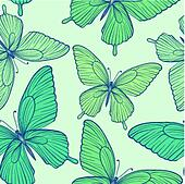 Beautiful seamless background with blue butterflies.