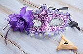 Purim Mask with Hamantaschen cookie