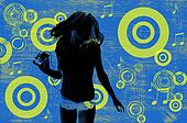 Circles and Music Note Background With Silhouette of a Woman