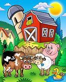 Farm animals near barn