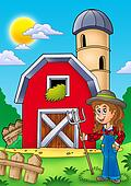 Big red barn with farmer girl