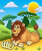 Cute lion with bone