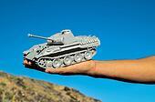 Old Ancient Vinatge Figurine Model Gray Tank