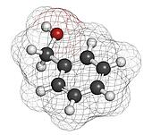 Benzyl alcohol solvent molecule. Used in manufacture of paint, i