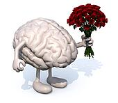 brain with arms, legs and bunch of roses on hand