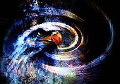 painting  eagle on an abstract background, with crackle structure  USA Symbols Freedom