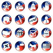 Set of red and blue election icons