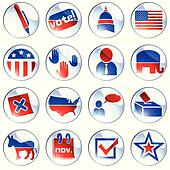 Set of white election icons