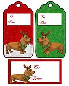 Christmas labels Dachshund dog
