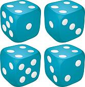 Set of blue casino craps, dices with four points, dots number on top, vector illustration