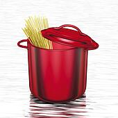 cooking red pot with spaghetti