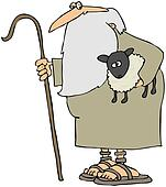 Shepherd Holding A Lamb