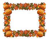 Halloween border leaves pumpkins