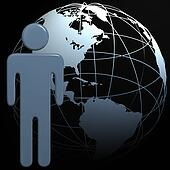 People symbol 3D globe Earth on black