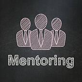 Education concept: Business People and Mentoring on chalkboard background