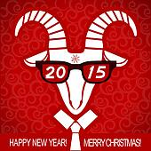 New year red card with goat and glasses.Vector business greetin
