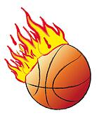 basket ball on fire