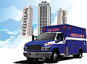 Dormitory and ambulance. Vector il
