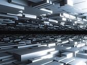 abstract futuristic background with glowing blocks, high quality 3d render