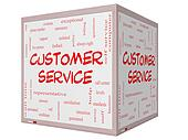 Customer Service Word Cloud Concept on a 3D cube Whiteboard