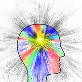 Colorful explosion of thought, pain or creativity